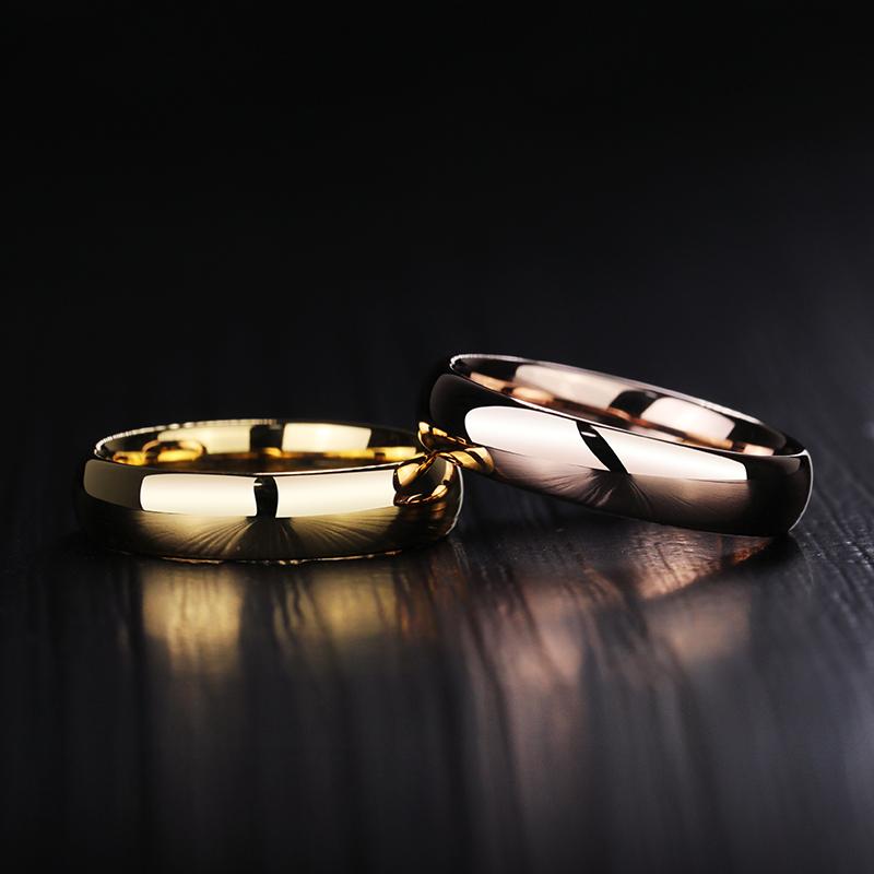情侣戒指男女钨金对戒玫瑰金黄金色简单可刻字情人节纪念礼物