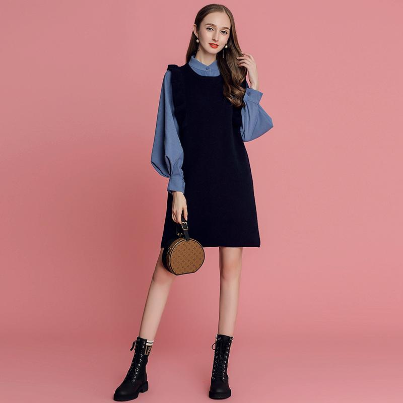 MIUCO女2018秋冬新款灯笼袖衬衫+木耳边针织背心连衣裙两件套裙子