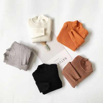 Autumn and winter children's clothing Korean men and women warm turtleneck sweater children's baby solid color knitted shirt shirt