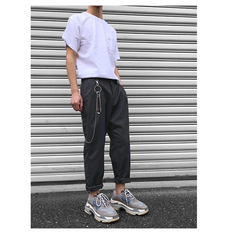 ITSCLIMAX màu xám xếp li phù hợp với quần người đàn ông lỏng lẻo của mùa hè phần mỏng quần tây giản dị xu hướng hoang dã