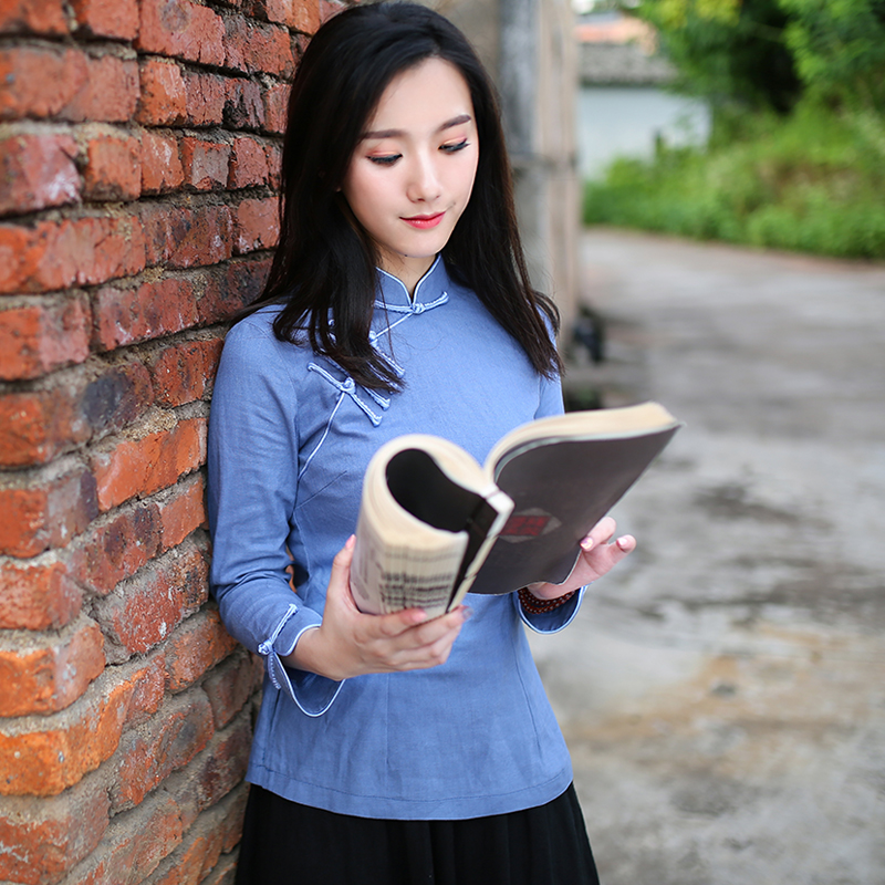 0e7a323cb87 Tangzhuang female retro spring and summer cotton and linen jacket Chinese  style cheongsam improved short paragraph Chinese tea clothing Republic of  the ...