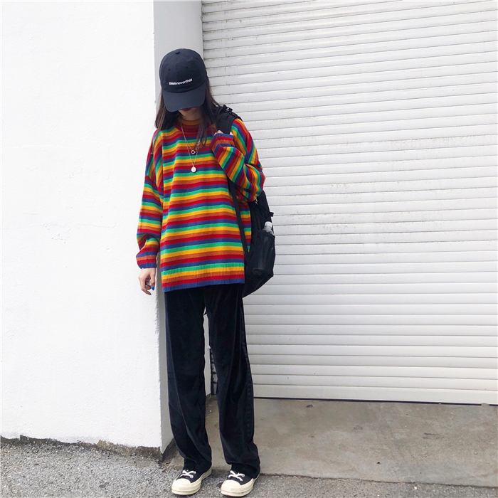 Female Korean Harajuku Hong Kong-flavored Loose Striped Sweater Women's Sweaters Japanese Kawaii Ulzzang Clothing For Women 7