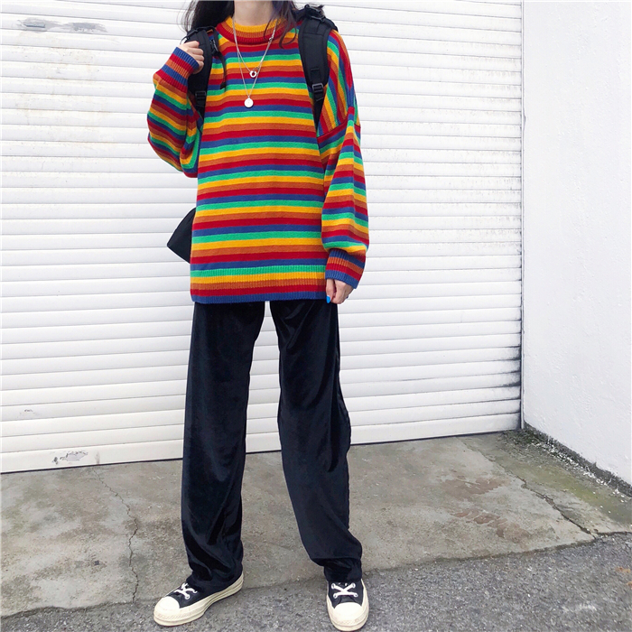Female Korean Harajuku Hong Kong-flavored Loose Striped Sweater Women's Sweaters Japanese Kawaii Ulzzang Clothing For Women 4
