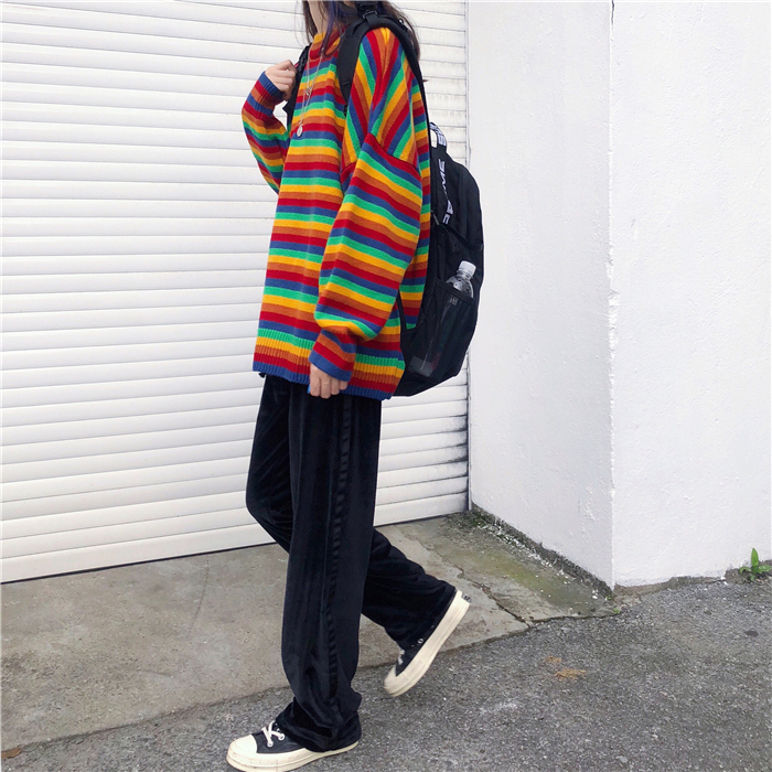 Female Korean Harajuku Hong Kong-flavored Loose Striped Sweater Women's Sweaters Japanese Kawaii Ulzzang Clothing For Women 6