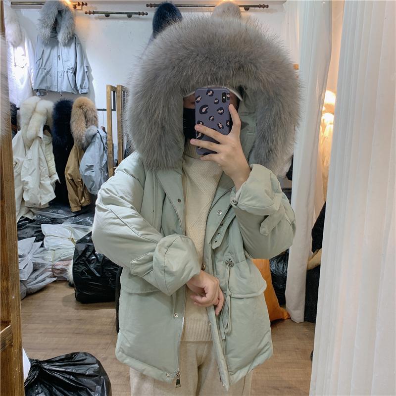 反季清仓小手套羽绒服女短款超大毛领收腰抽绳精致秀气羽绒外套