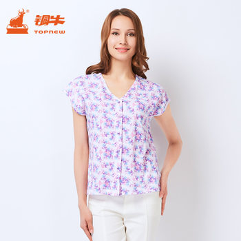 Topnew / Bronze Bull Women's Underwear Middle-aged and Elderly Cotton Short-sleeved Printed Cardigan Home Vest Summer VB009