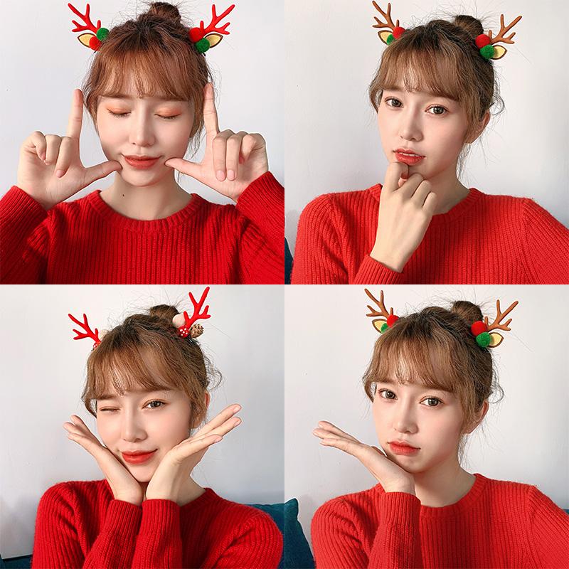 网红圣诞少女可爱简约发夹边夹鸭嘴夹韩版ins鹿角头饰森系发饰品