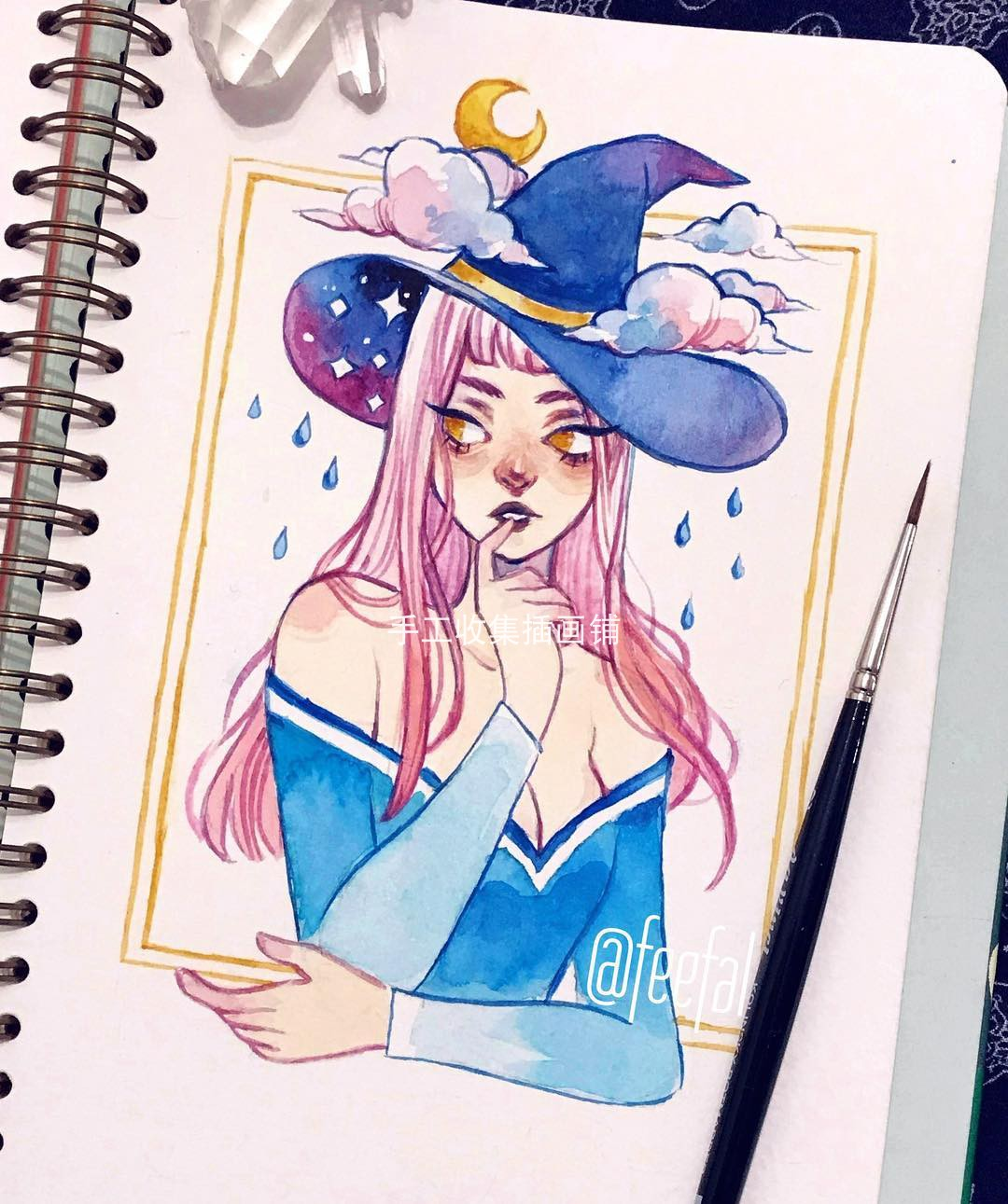水彩插画师feefal人物欧美人设色彩速写线稿水彩插图唯美少女