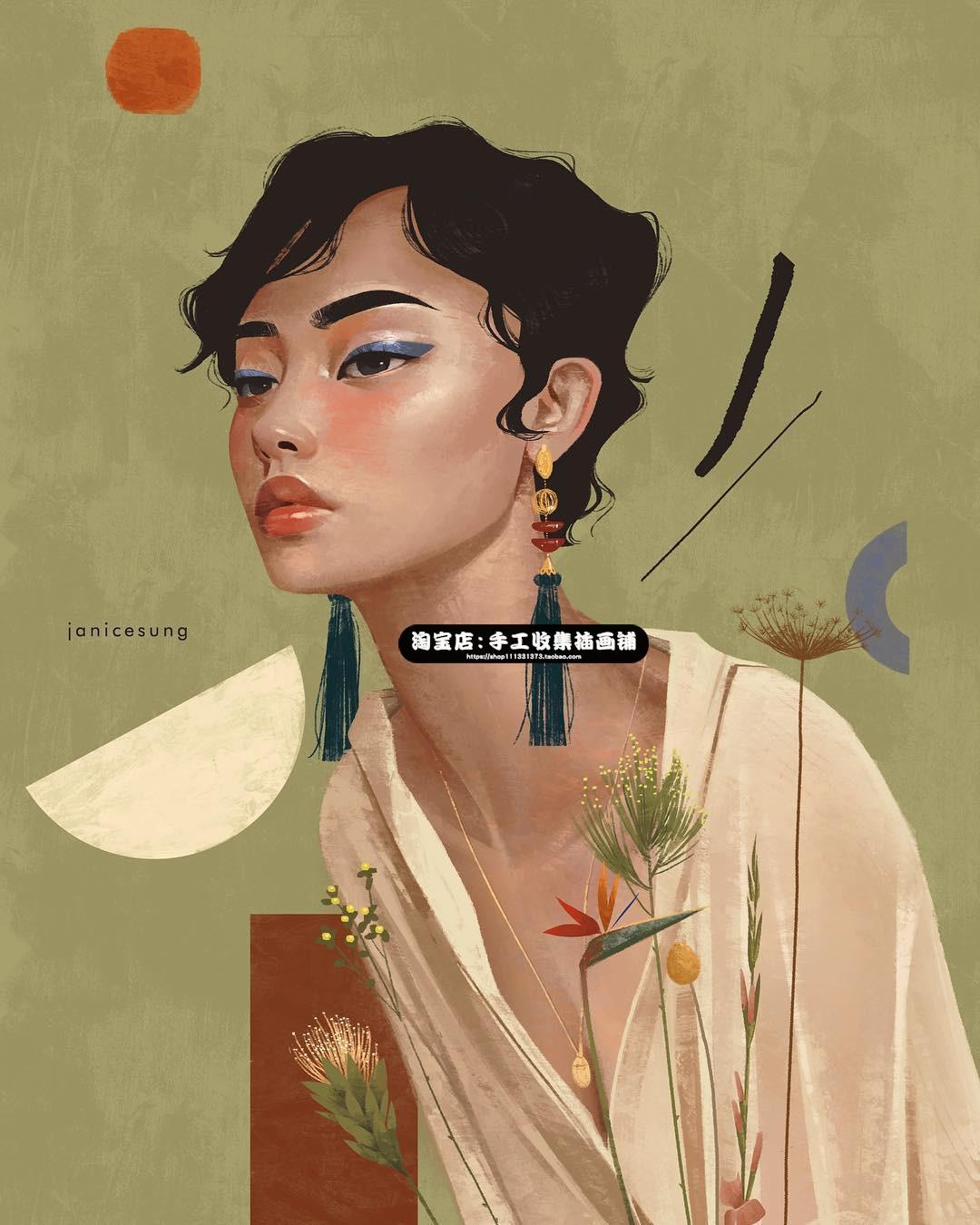 欧美风手绘女生人物插画参考五官人体厚涂风格临摹手绘画集