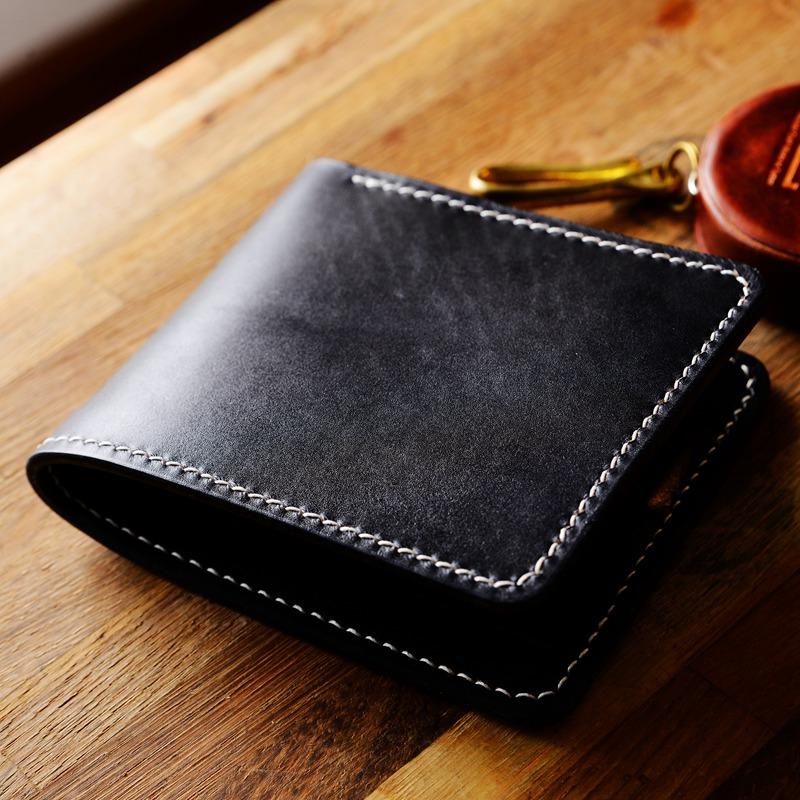 罐手制 两折横短款手染手工黑色植鞣革钱夹男钱包日系极简