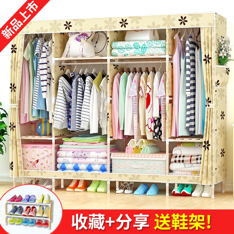 Storage Simple Wardrobe Fabric Assembly Reinforcement Coarsely Solid Wood Cloth  Cabinet IKEA Economical Simple Modern Wardrobe