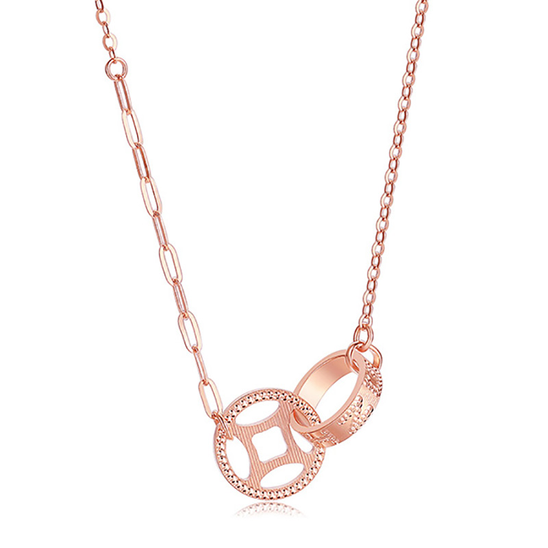 【珠宝节专享】周大生18k金项链玫瑰金复古国潮铜钱双环锁骨链