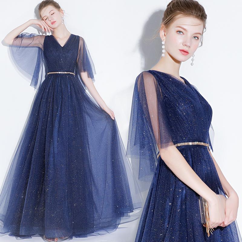 宴会晚礼服女2019新款长款礼服高贵优雅生日派对连衣裙礼服显瘦春