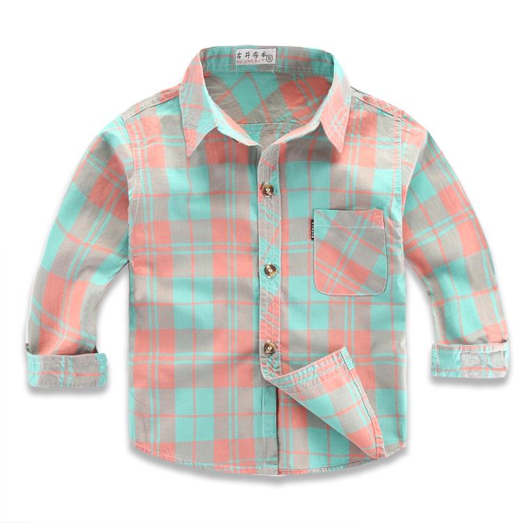男童纯棉长袖衬衫薄款春秋儿童格子衬衣小童宝宝婴儿防晒外套夏