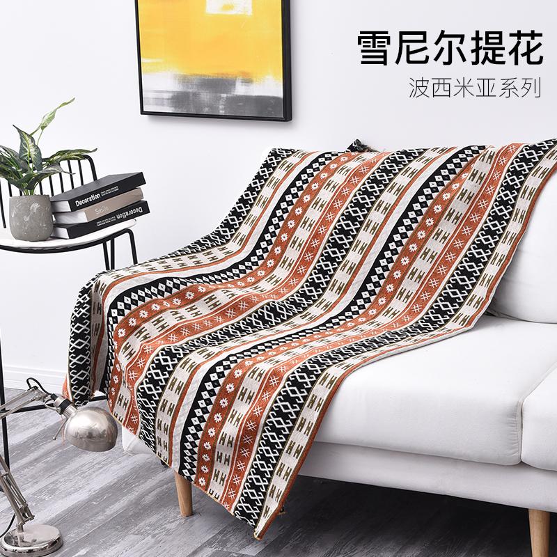 波西米亚棉麻风植绒沙发面料丽江云南印花布料靠枕桌布民族布料