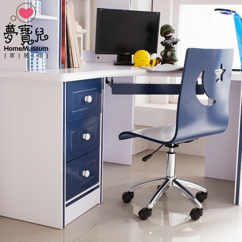 USD European Corner Desk Children Solid Wood Learning - Bookchair combined with bookshelf
