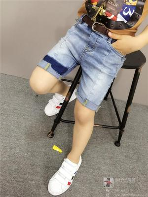 Children's clothing 2017 summer boy shorts children's jeans five pants trendy fashion wild personality kids pants