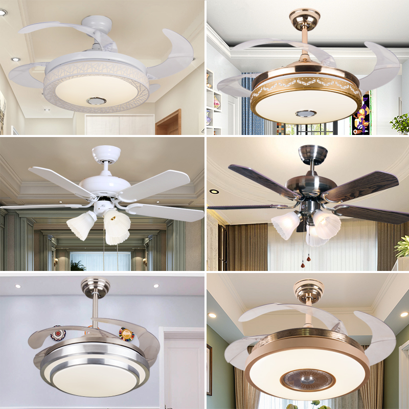 European Style Invisible Ceiling Fan Lamp Fan Lamp Living Room Dining Room  Bedroom Home Simple