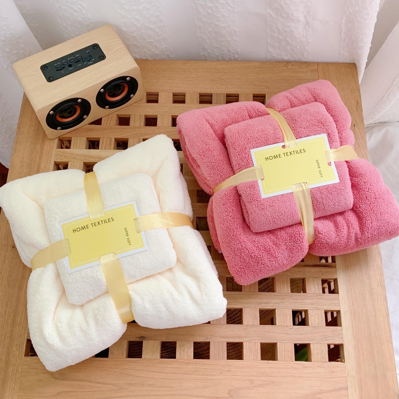 加厚珊瑚绒家用毛巾浴巾子母巾二件套