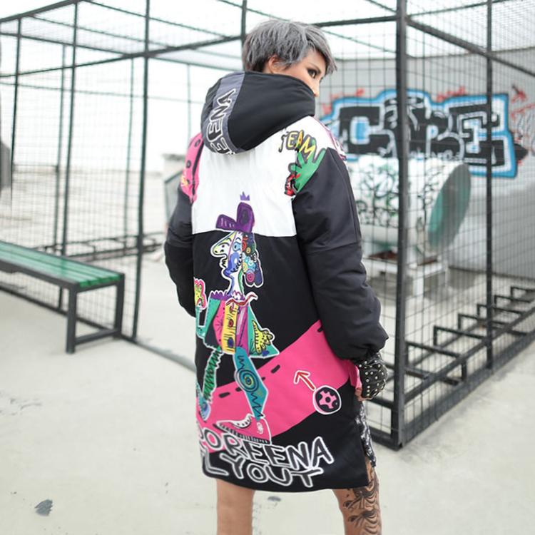 中长款卡通女2019棉服新款冬装印花棉衣羽绒外套学生网红ins时尚