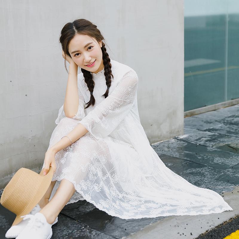 蕾丝连衣裙女夏2017新款韩版春秋显瘦仙气网纱刺绣小清新飘逸裙子