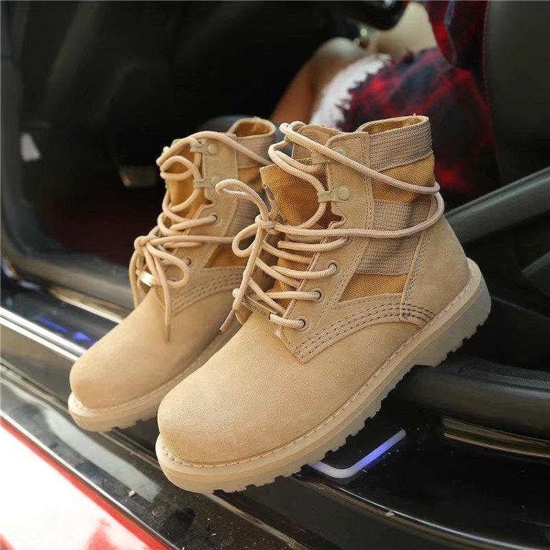 Пустыня ботинок мартин сапоги женщина британская мода лето высокий скраб ботинки студент ретро армия ботинок локомотив механическая обработка ботинок зима