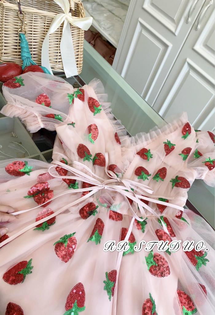 草莓洋装新款春夏智熏法式桔梗裙女裙子仙女超仙森系初恋裙详细照片