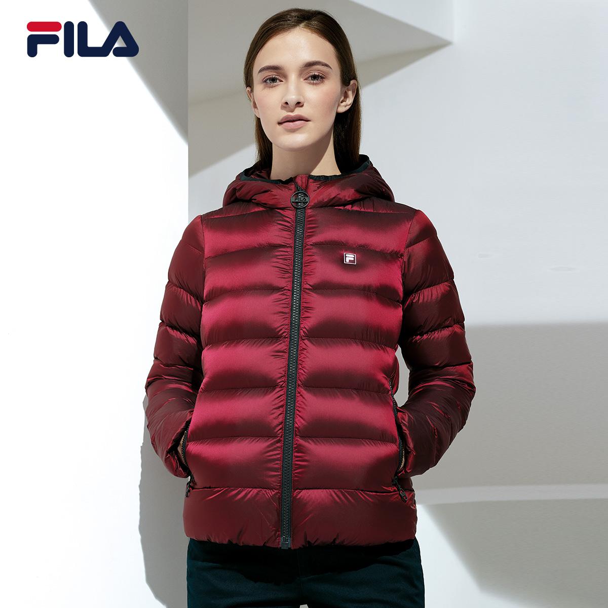 e8b499c3f06b 1fila Fei Le female down jacket 2018 Winter new hooded sports jacket female  warm wind down jacket female