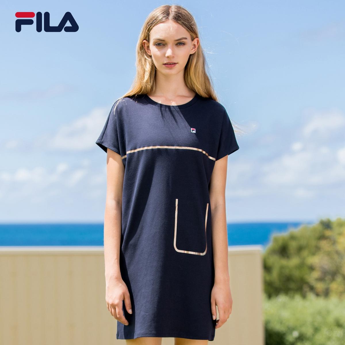 FILA фиджи музыка женщина платье 2018 новый летний свет качество случайный короткий рукав платье