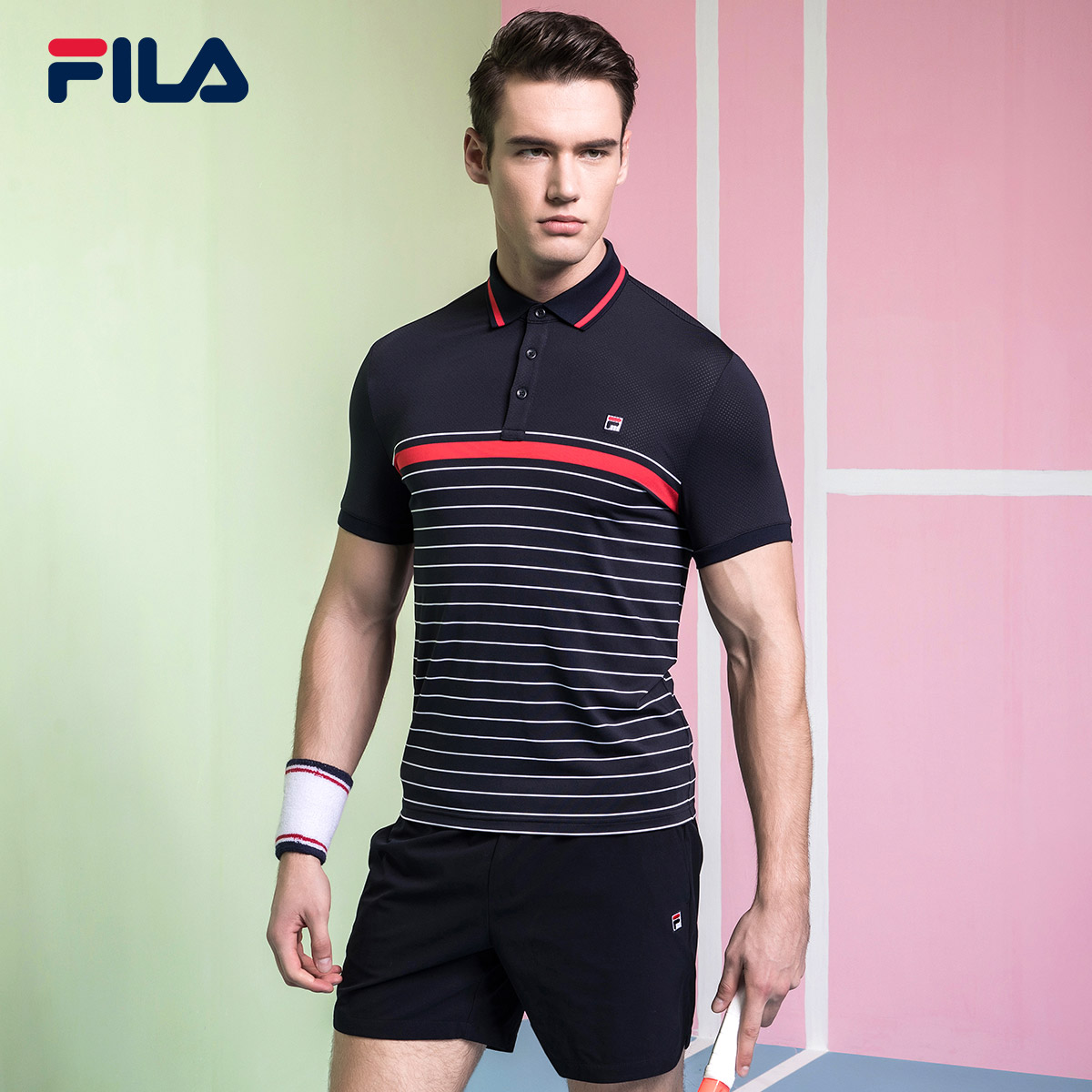 Fila fila quần vợt nam ngắn tay áo 2018 mới thanh lịch thoải mái thể thao giản dị ngắn tay áo polo áo sơ mi nam