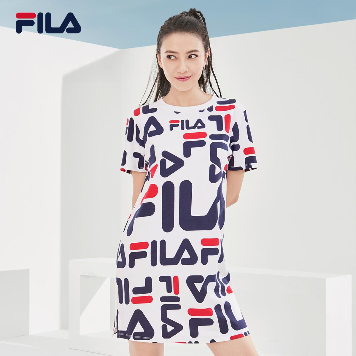 FILA фиджи лего круглый в этом же моделье женский с коротким рукавом платье 2018 новая весна статья круглый штамп LOGO волна модель платье