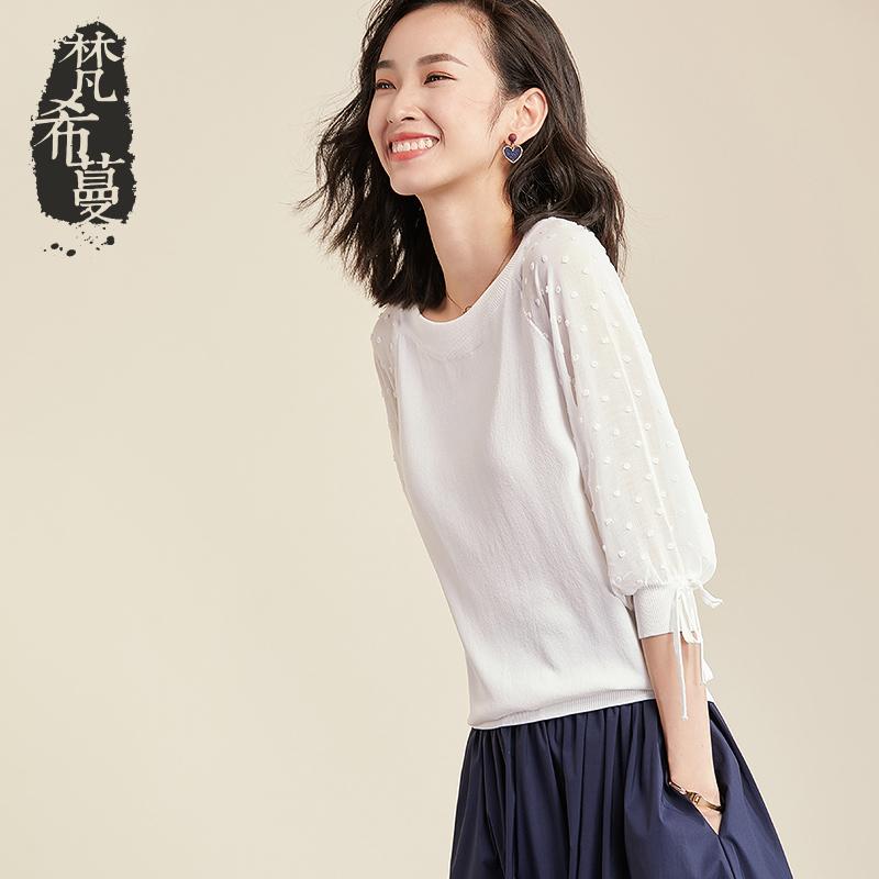 梵希蔓针织衫女七分袖薄款2019春秋季新款很仙的雪纺拼接毛衣上衣