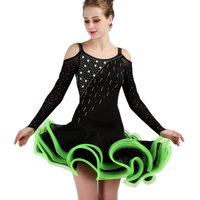 Latin Dance Dresses Women's Performance Spandex / Organza Ruching / Crystals / Rhinestones Sleeveless Dress
