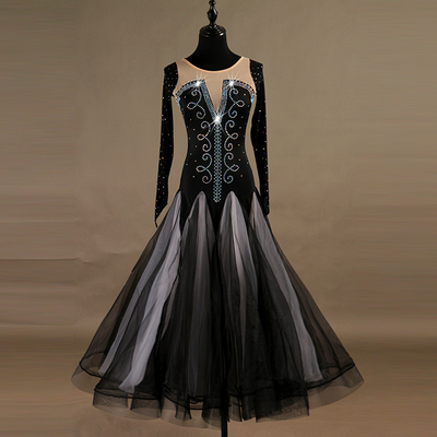 Ballroom Dance Dresses Modern Pompon Skirt, Big Peng Skirt, Slim Dress, High-end National Standard Dance Competition Dress