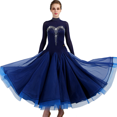 Ballroom Dance Dresses Women's Training Nylon / Organza / Tulle Crystals / Rhinestones Sleeveless High Dress