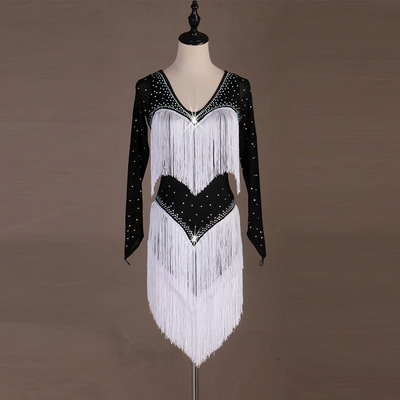 Latin Dance Dresses Latin Dance Competition Dresses / Rhinestones Sleeveless High Dress