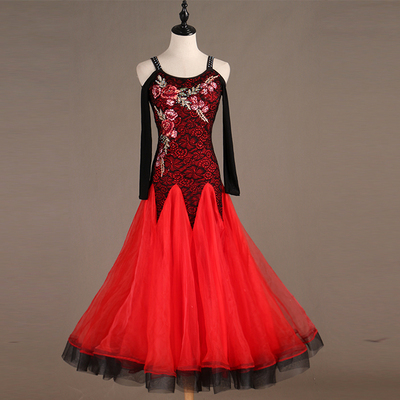 Ballroom Dance Dresses Compound Lace Modern Dance Competition Dress Waltz National Standard Dance Dress