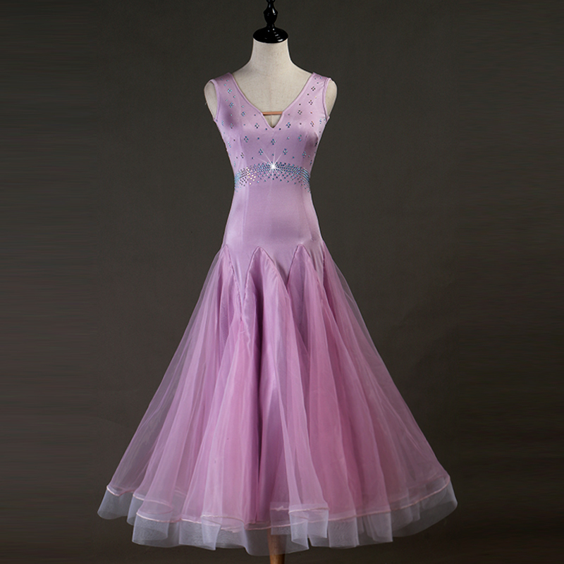 Ballroom Dance Dresses Pink and purple! Modern Dance Performing Dresses Sexy V-neck Group Dance Square Ballroom Dance Dresses