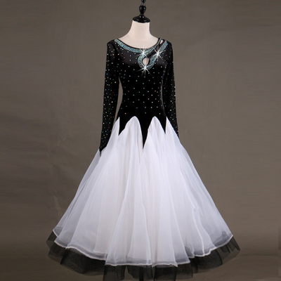 Ballroom Dance DressesLong Sleeve Modern Skirt Show Clothes Adults in High-end Flash Drill Ballroom Dance Competition