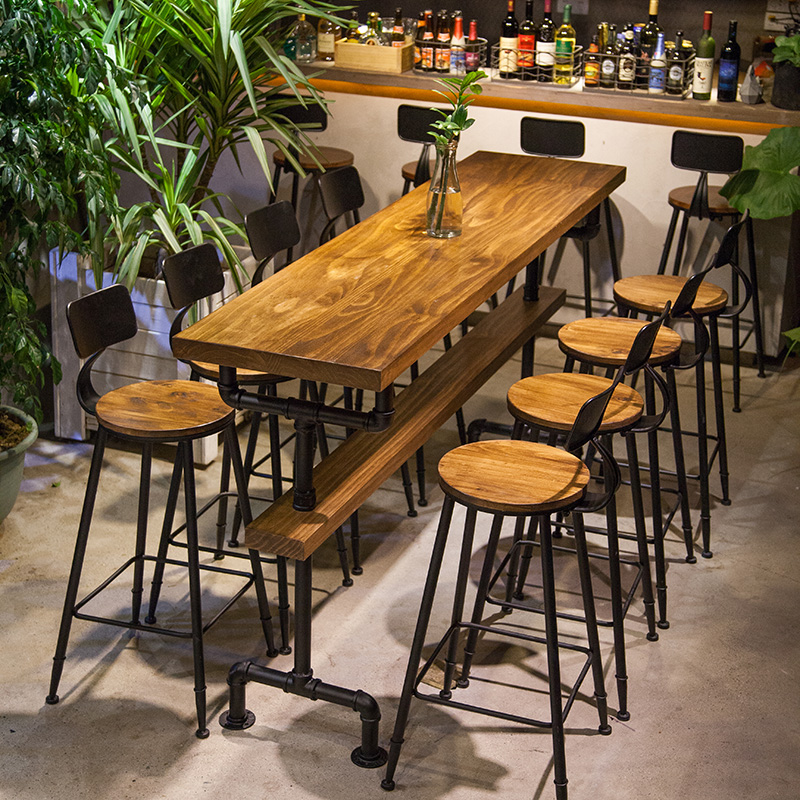 Home Wall Bar Table And Chairs Solid Wood Bar Counter Starbucks High Table  Cafe Long Table ...