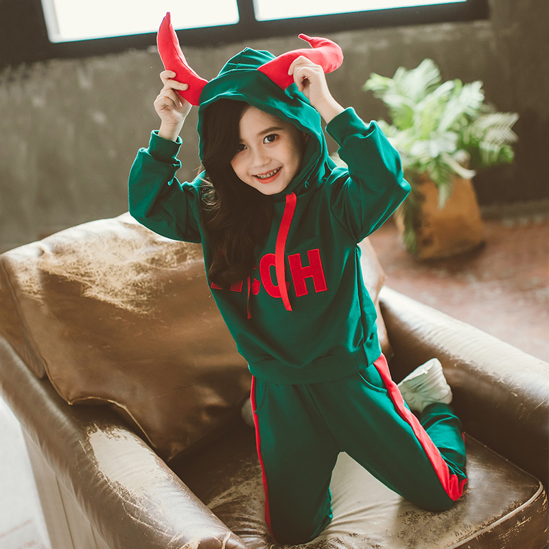 Girls spring and autumn Set 2019 new Korean fashion spring and autumn children's fashion suit foreign sports two-piece suit