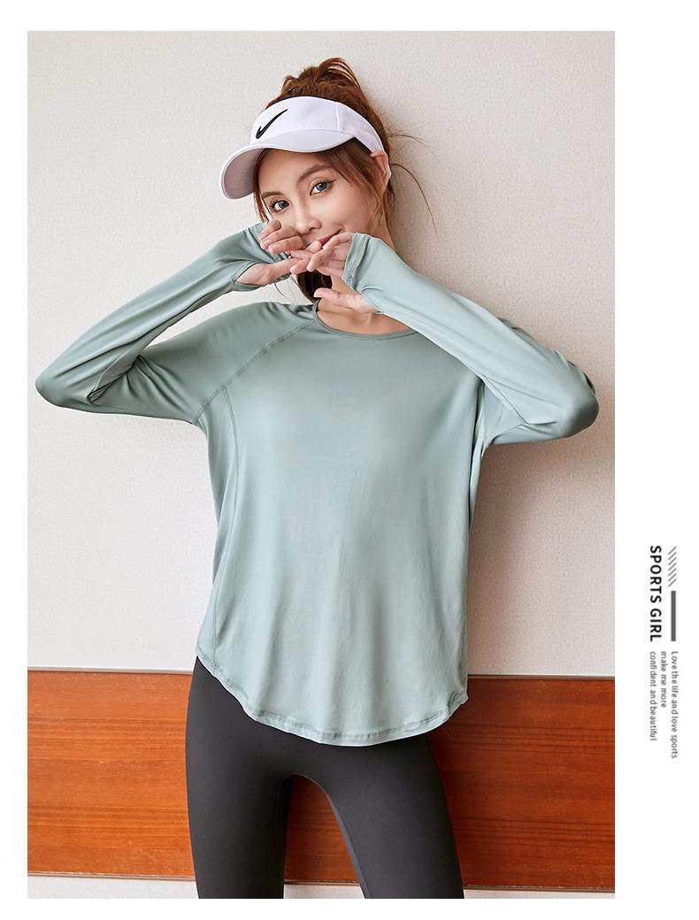 运动上衣女宽鬆弹力显瘦跑步速干恤长袖网红健身百搭瑜伽服春夏详细照片