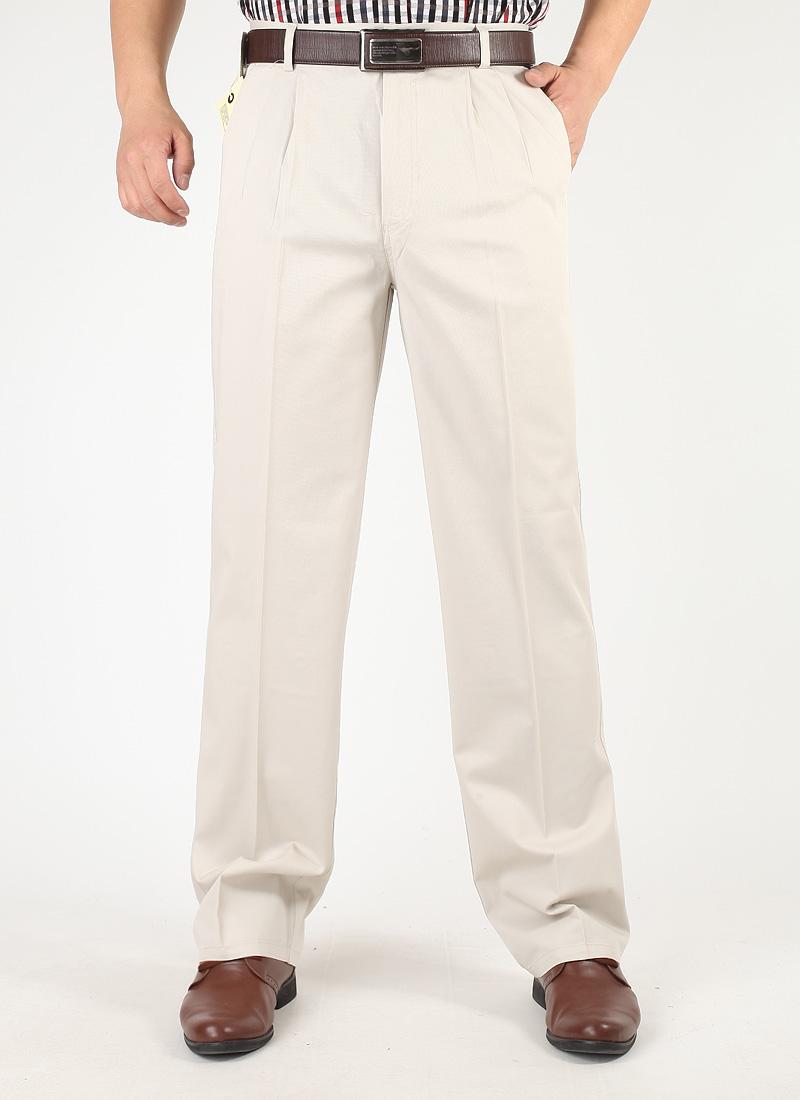 Mùa xuân và mùa hè quần âu nam trung niên quần mỏng tinh khiết bông lỏng thẳng eo cao trung niên cha quần