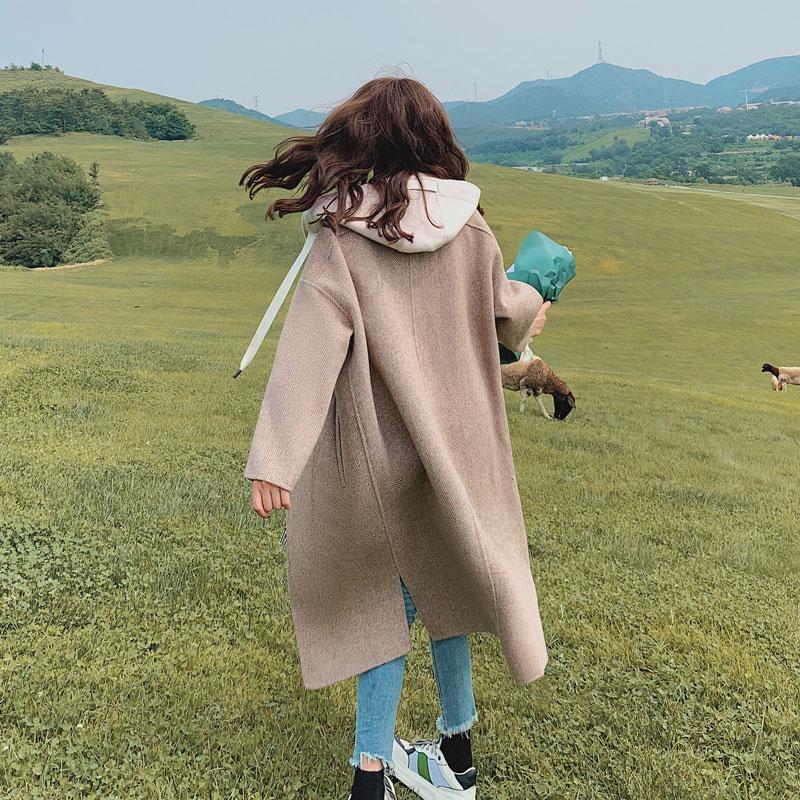 Mùa thu đông 2019 mới Thời trang Hàn Quốc giảm béo áo len trùm đầu cho phụ nữ giữa chiều dài phổ biến áo len - Áo Hàn Quốc