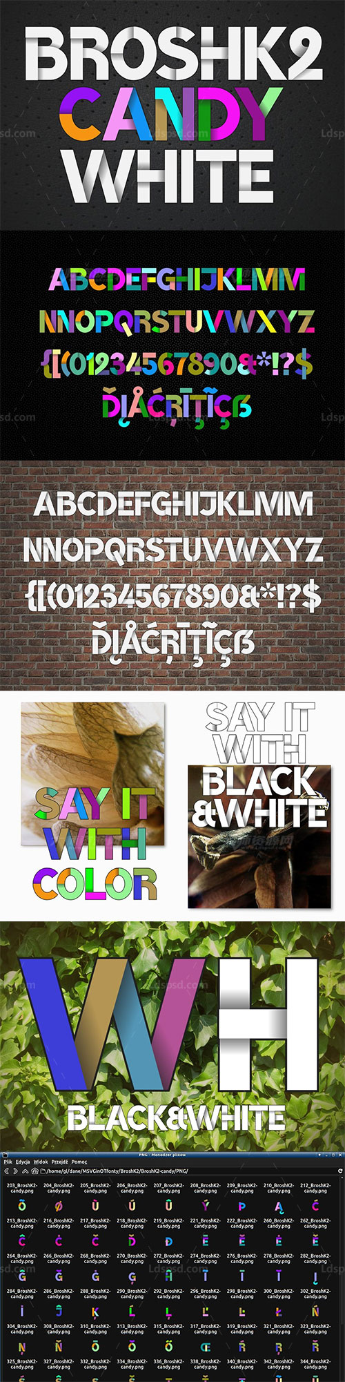 两款堆叠效果的英文SVG字体(多彩/白色):Color fonts BroshK2-candy & white