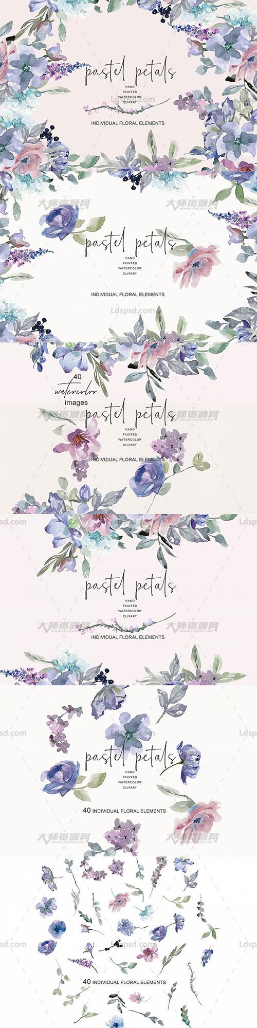 40张高清背景透明的北欧风水彩淡蓝紫色花卉PNG图片:Watercolor Pastel Blue and Mauve Flowers