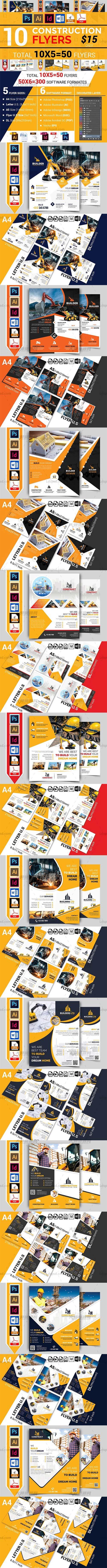 10个工程类施工传单模板合集(均含PSD/INDD/AI/EPS/DOCX/PDF格式):10 Construction Flyer Bundle