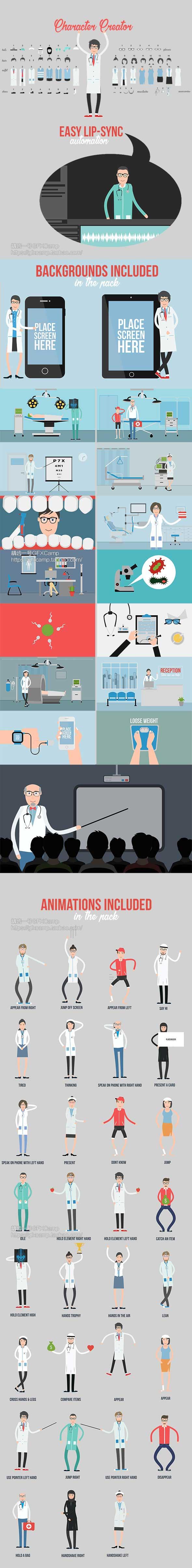 AE模板-医生护士医院医疗健康监测MG动画元素片头
