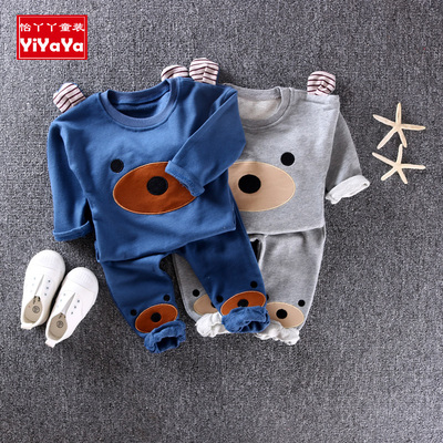 Male baby spring suit 2-3 years old tide 2018 new men's spring and autumn long sleeve cartoon two-piece 3-4 years old