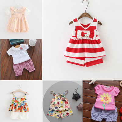 Infant summer clothes one year old female baby summer 0-1 years old 2-3 years old girls' camisole shorts set